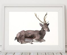 Cute watercolor deer print. Colorful animal art. Lovely nursery decor. BUY 1 GET 1 FREE - use coupon code 777FOXY at checkout.  Comes in two