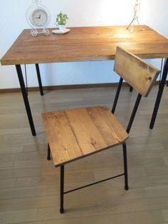 アンティーク風ダイニングテーブル・用 イス2脚セット 鉄脚アイアン テーブル 用椅子