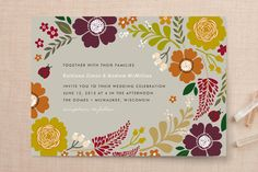 """Ladybug Garden"" - Floral & Botanical Print-it-yourself Wedding Invitations in Spring by Alethea and Ruth."