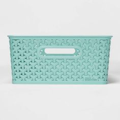 Y-Weave Medium Rectangle Storage Bin - Room Essentials , Size: Medium Green Decorative Storage Bins, Storage Tubs, Cube Storage, Storage Baskets, Plastic Storage, Storage Boxes, Toy Rooms, Green Rooms, Basket Decoration