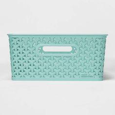 Y-Weave Medium Rectangle Storage Bin - Room Essentials , Size: Medium Green Cube Storage, Storage Baskets, Resin Material, Toy Rooms, Green Rooms, Basket Decoration, Diy Bathroom Decor, Decorative Storage, Room Essentials