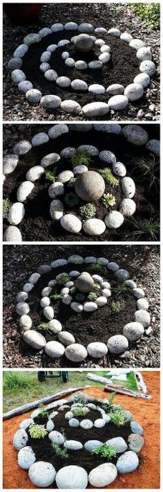 So ein Spiral Garten dient euch zB super als Kräutergarten. #Gartenideen #Steingarten