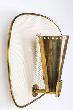 1950s Jacques Biny Brass and Perforated Metal Sconces for Luminalite 4