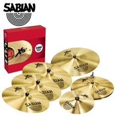 """Sabian TC-BJCR-S580 Xs20 Cymbals Super Set with Free 10-Inch Splash and 18-Inch Crash by Sabian Inc.. $599.00. This Xs20 Cymbals Super Set is a complete set of 5 cymbals, plus 2 free cymbals. Crafted using an innovative technique, Xs20 cymbals deliver bright sounds, professional looks, and great feel at a nice price, making this series the ideal choice when you discover that sound matters. 14"""" Medium Hats With a highly responsive medium-weight top for accurate sticking respo..."""