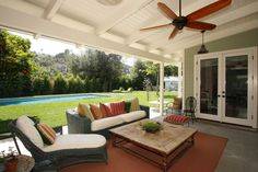 Pergola Gazebo Rafter Tails And End Designs Traditional Porch Addition Of A Covered Stone Floor Back Patio Design, Pictures, Remodel, Decor and Ideas - page 6 Back Patio, Backyard Patio, Patio Fan, Outdoor Spaces, Outdoor Living, Outdoor Decor, Outdoor Fans, Outdoor Sofa, Covered Patio Design