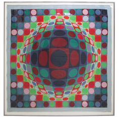 Victor Vasarely 1969 Op Art Silk Scarf Screenprint Signed