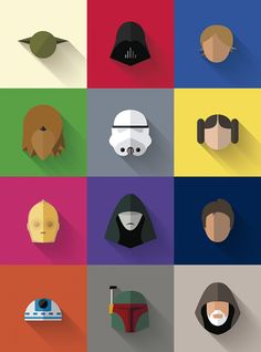 Cool Flat Design Star Wars CharactersCreated by Filipe de Carvalho, these icons simply communicate the characters they represent. Source