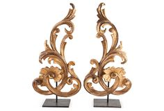 "Gilt Fragments, Pair, on OneKingsLane.com | Pair of 19th-century carved giltwood fragments mounted on custom steel stands. These where made in France about 1860 | 10.5""w x 5""d x 21.5""h each 