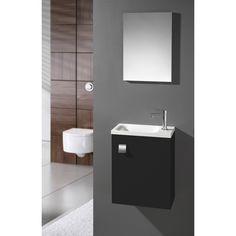 Meuble lave-mains d\'angle avec miroir SENSEA Remix, gris galet n°3 ...