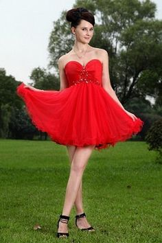 c9238611f9c Buy red sweetheart short organza dresses for damas with beading from cute dama  dresses collection