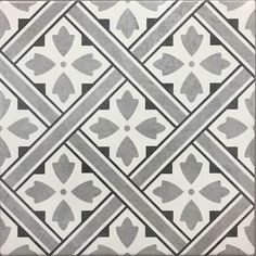 Mr Jones Pattern DMJ grey floor tile by Canakkale Seramik. A porcelain floor tile with a matt finish measuring Manufacturers code This square floor tile features a traditional geometric pattern bringing in a historic influence to keep it on trend. Types Of Floor Tiles, Grey Floor Tiles, Ceramic Floor Tiles, Wall And Floor Tiles, Porcelain Floor, Floor Patterns, Geometric Patterns, Tile Patterns, Porch Flooring