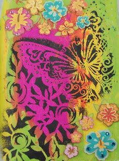 background=Dylusions paint; butterfly = stencil flowers are from K&company