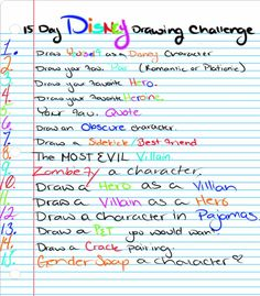 15 Day Disney Drawing Challenge by TheWitchAtsu. Didn't know whether to put this under stuff to draw or Disney :) Disney Drawing Challenge, 30 Day Drawing Challenge, Disney Challenge, 30 Day Challenge, Challenge Accepted, Style Challenge, Drawing Prompt, Drawing Tips, Drawing Ideas