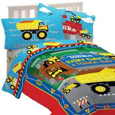 4pc Tonka Trucks Twin Bedding Set  A great construction themed #bedding set for #boys  Reversible for two great patterns.