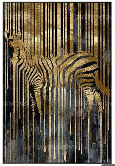 Zebra Painting, Large Painting, Painting Frames, Painting Prints, Art Prints, Gold Leaf Art, Gold Art, Abstract Animals, Abstract Art