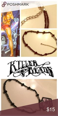 """🎃HALLOWEEN CHOKER! By Killer Beads. WICKED!🎃 🎃HALLOWEEN CHOKER! By Killer Beads. WICKED!🎃 16"""" CHOKER with black seed beads and a 3"""" extender. Lobster Clasp. Be devilish and sexy in this!👻Price firm unless bundled. Killer Beads Jewelry Necklaces"""