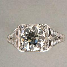 Antique Engagement Art Deco 2 33ct Old European Cut Diamond Platinum Ring | eBay