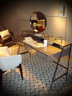 Venere vanity desk by Carlo Colombo for Gallotti & Radice. Also the beautiful Lulea chair by Piero Lissoni for Living Divani. All at the stand for Gallotti at 2013 Salone