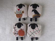 Primitive Punch Needle Pattern ~ Four Seasons of Sheep ~ Spring~Summer~Fall~Winter~folk art -punchneedle pdf pattern -needle punch e-pattern by DoodleDogPrimitives on Etsy https://www.etsy.com/listing/464510751/primitive-punch-needle-pattern-four