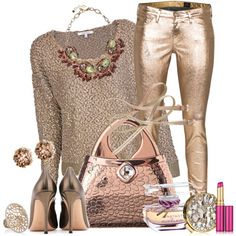 """The pants aren't me but love everything else! """"Metallic Love"""" by jacque-reid on Polyvore"""