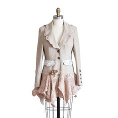 Oatmeal and Beige Blazer Mori Girl Romantic by RemixdClothing, $94.00