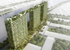 Vo Trong Nghia plans trio of towers covered in bamboo plants and linked by bridges.