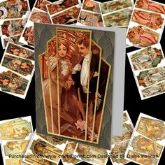 This bumper kit contains 14 craft sheets  using all Alphonse Mucha artwork, with  a three layer pyramid to build the layers.  Each sheet is also available individually.  Click the link of your choice to see a larger  image of each sheet. Thank you for looking.