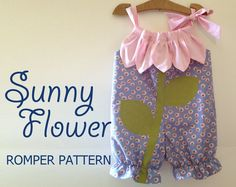 Sunny Flower - Pillowcase Romper Pattern. Baby Children Clothing Sewing Pattern. Easy Sew Sizes 1/2, 1, 2, 3, 4, 5, 6 included. $7.75, via Etsy.