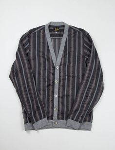 Needles Charcoal Cable Stripe Rib Cuff V Cardigan