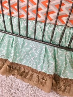 Orange and Grey Arrowhead, Mint Aztec, Burlap, Ivory with Gold Arrows, and Tan Plaid Crib Bedding Crib Bedding Boy, King Bedding Sets, Linen Bedding, Bed Linen, Orange Bedding, Pottery Barn Teen Bedding, Bedding Sets Online, Baby Design, Luxury Bedding