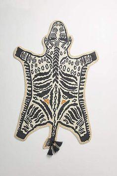 Anthropologie Hand-Embroidered Safari Rug