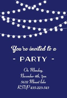 Free Printable Party Invitation Template - Party lights | Greetings Island best place for FREE invitation templates!