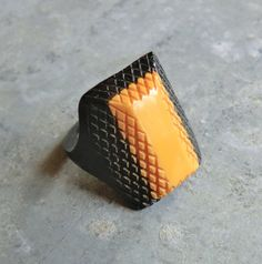 Deco Era Carved Bakelite Ring