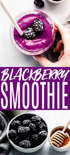 ThisHealthy Blackberry Smoothie is the perfect way to start your day. Made without banana it's amazingly rich and creamy and packed with Vitamin C. // recipes // healthy // easy // yogurt // with almond milk // simple Protein Smoothies, Fruit Smoothie Recipes, Yogurt Smoothies, Easy Smoothies, Healthy Smoothie Ingredients, Vegetable Smoothies, Jelly Recipes, Easter Recipes, Blackberry Yogurt