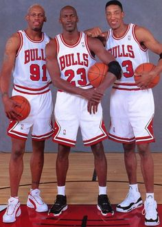 Dennis Rodman, Michael Jordan and Scotti Pippen