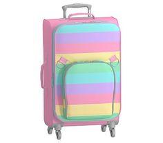 Large Spinner Luggage, Fairfax Stripe Rainbow Multi, No Patch