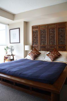 room divider as headboard