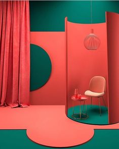 Living Coral: Introducing Pantone Color Of The Year Into Your Home Decor Theme Design, Booth Design, Design Color, Coral Design, Interior Architecture, Interior Design, Color Harmony, Pantone Color, Pantone Green