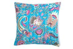 Kantha 20x20 Pillow, Aqua on OneKingsLane.com