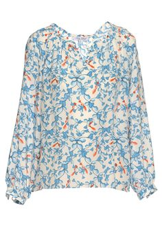 Key Leaf Oxford Blouse aus Silk Crepe Radish Blue