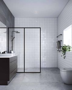 Custom Glass & Shower Screens offer customers a wide range of shower . We make selecting your new shower screen a breeze. Framed Shower Door, Shower Doors, Shower Screens, Black Tile Bathrooms, Bathroom Floor Tiles, Bad Inspiration, Bathroom Inspiration, Reece Bathroom, Black Shower