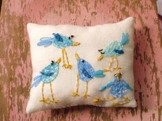 ridiculously cute 'silly little bluebirds' embroidered pillow by yellikelli