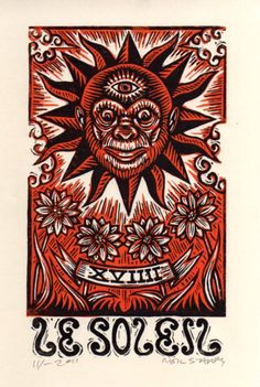 Tarot Art Print Sun Tarot Card Art Linocut Print by HorseAndHare