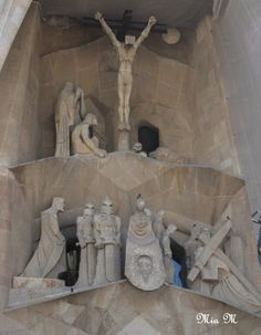 This is another aspect of Sagrada Familia, and it is one of many religious images that can be discovered in and outside of the large church. Gaudi wanted to include many religious scenes in the architecture of the church, and this particular scene is one of largest of the building. The figures in this scene are surrounding Jesus Christ as he is being crucified.
