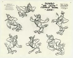 60. Model sheet of Jim Crow from Dumbo (1941). ...