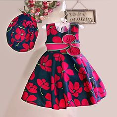 Girls Dress+ Hat Red Flower Print Bow Party Pageant Beach Princess Lovely Children Clothes – MXN $ 344.00