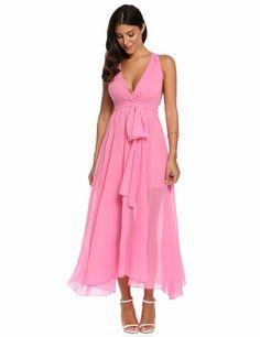 Rose red V-Neck Sleeveless Bandage Chiffon Maxi Casual Dress