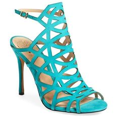 """Vince Camuto 'Kristana' Gladiator Sandal, 4"""" heel ($119) ❤ liked on Polyvore featuring shoes, sandals, turquoise suede, gladiator sandals, vince camuto shoes, greek sandals, high heel sandals and stiletto sandals"""