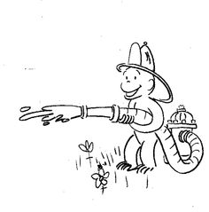Curious George Fireman Coloring Pages Printable