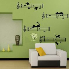 large size free shipping Cute cartoon cat and Staff note combination Musical Wall Stickers,music bedroom decor $9.23